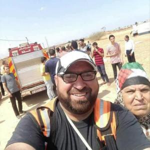 Mosa Abu Hasanain, Paramedic, with his mother RIP May 14 (via Basem Naim onTwitter) May 17 2018
