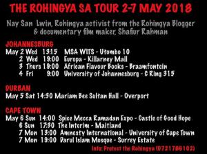 Rohingya SA tour May 4 2018