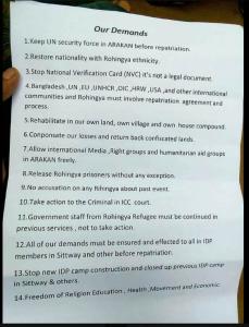 Rohingya repatriation demands Apr 30 2018