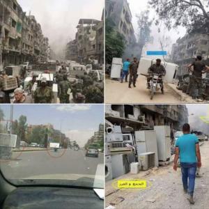 Syrian amny looting fridges May 22 2018