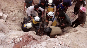 White Helmets rescuing child (WH on Twitter) May 8 2018