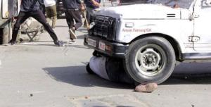 Kashmir man run over by jeep (Aman Farooq:GK) June 1 2018