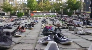 Pal shoes outside EU in Brussels (Palestine Observer) May 28 2018