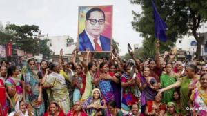 Ambedkar photo at protest Sept 6 2018
