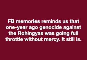 August 2018 remembrance of Rohingya genocide meme