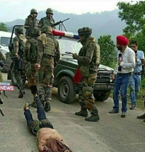 Indian troops dragging corpse of militant Sept 13 2018