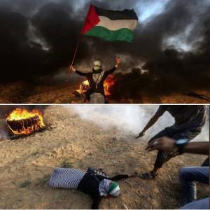 Pal girl at GRM shot by Israeli sniper (Basem Naim) Sept 2 2018