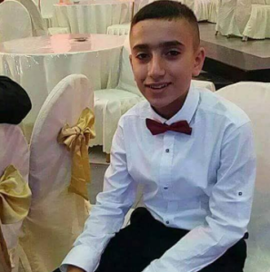 Palestinian child Arkan Thaer Mozher from Dhaishah Refugees Camp RIP July 23 2018