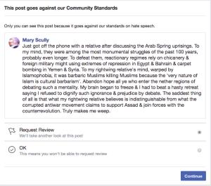 September 18 2018 FB suspension post