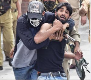 Undercover cop & Kashmiri protester (Basit Zargar) Sept 7 2018